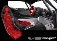 Red interior picture of the Exige V6 Cup