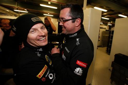 Kimi Raikkonen, Lotus F1, and Eric Boullier, Team Principal, Lotus F1, celebrate victory.