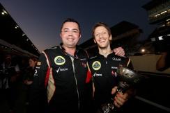Eric Boullier, Team Principal, Lotus F1, celebrates with Romain Grosjean, Lotus F1, 3rd position.