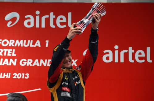 Romain Grosjean, Lotus F1, celebrates on the podium