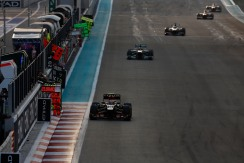 Romain Grosjean, Lotus E21 Renault, leads Lewis Hamilton, Mercedes W04, and Nico Hulkenberg,