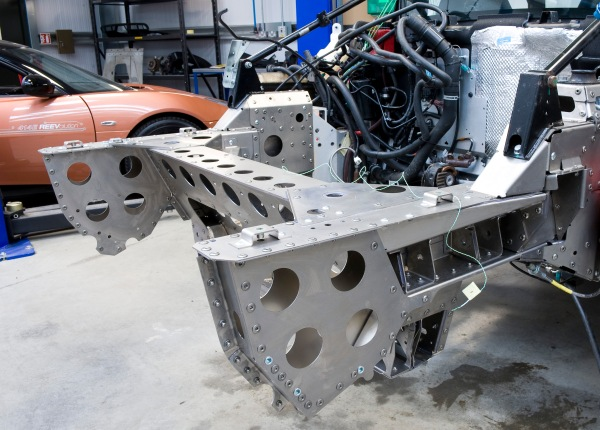 Titanium subframe being fitted to an Exige for testing