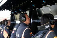 Federico Gastaldi, Deputy Team Principal, Lotus F1, on the pit wall.
